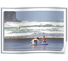 """Surfing..Learning How ..Piha Beach, New Zealand"" part 2 Poster"
