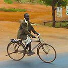 Man on a bicycle in Makindu, KENYA by Atanas NASKO
