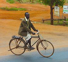 Man on a bicycle in Makindu, KENYA by Atanas Bozhikov Nasko