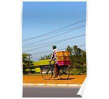 Man on a bicycle in Nairobi, KENYA Poster