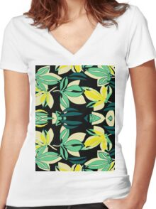 Leaf and Flowers Women's Fitted V-Neck T-Shirt