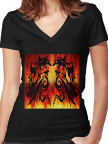 DRAGONS FIGHTING Women's Fitted V-Neck T-Shirt