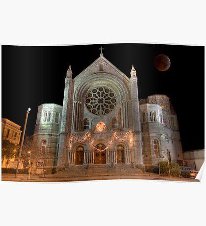 Lunar Eclipse over Church Poster