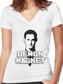 XANDER HARRIS: Demon Magnet Women's Fitted V-Neck T-Shirt
