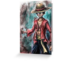 The King of Pirates a Tra-Digital Portrait of Luffy Greeting Card