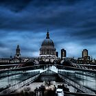 London: Millennium Bridge and Saint Paul's Cathedral at dusk by PhotosOnTheRoad