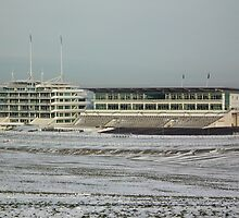 Grandstand in the snow, Epsom Downs by mike  jordan.