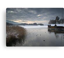 Winter Boathouses Canvas Print