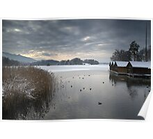 Winter Boathouses Poster