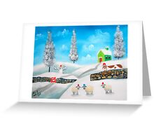 COW SHEEP naive folk winter SNOW SCENE painting Gordon Bruce Greeting Card