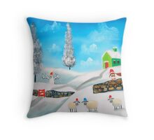 COW SHEEP naive folk winter SNOW SCENE painting Gordon Bruce Throw Pillow