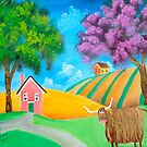 Highland cow naive folk art oil painting Gordon Bruce  by gordonbruce