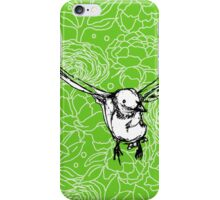 Flying Bird on Peony Pattern-Apple Green iPhone Case/Skin