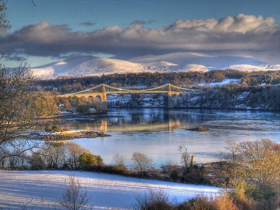 Menai Bridge, Anglesey, Christmas Eve 2010 by Julian Easten