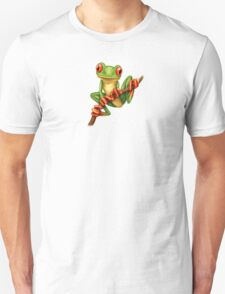 Cute Green Tree Frog on a Branch Unisex T-Shirt