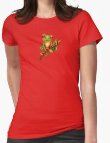 Cute Green Tree Frog on a Branch Womens Fitted T-Shirt