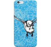 Flying Bird on Floral-Turquoise iPhone Case/Skin