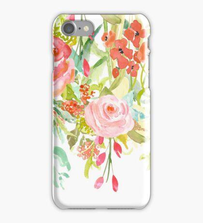 Pink Watercolor Garden Floral iPhone Case/Skin