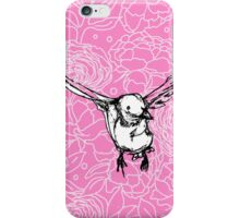 Flying Bird on Floral-Pink iPhone Case/Skin