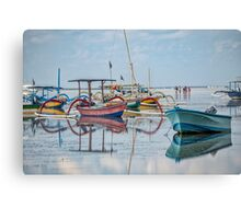 Boats Mirrored on the Water at Sanur Canvas Print