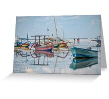 Boats Mirrored on the Water at Sanur Greeting Card