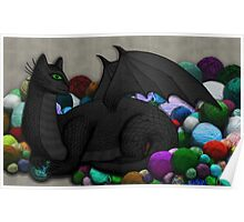 Cat Dragon with Yarn Hoard Poster
