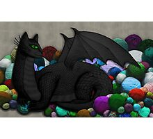 Cat Dragon with Yarn Hoard Photographic Print