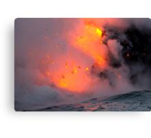 Hawaii Volcano Exploding Into The Sea Canvas Print
