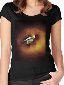Paper Spaceship 2 Remixed Women's Fitted Scoop T-Shirt