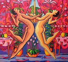 gay couple dancing kissing queer art homosexual paintings            by raphael perez
