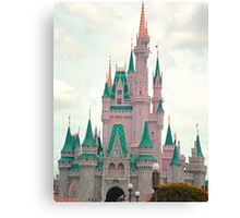 Pink & Teal Castle Canvas Print