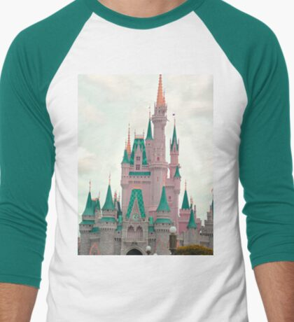 Pink & Teal Castle Men's Baseball ¾ T-Shirt