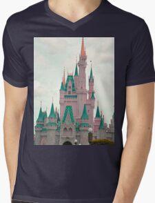 Pink & Teal Castle Mens V-Neck T-Shirt