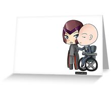 Mutant and Proud: Magneto and Professor Xavier Chibis by Klockworkkat Greeting Card