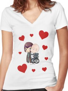 Mutant and Proud: Magneto and Professor Xavier Chibis by Klockworkkat Women's Fitted V-Neck T-Shirt