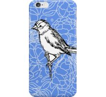 Perched Bird on Floral Pattern-Blue iPhone Case/Skin
