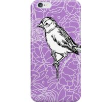 Perched Bird on Floral Pattern-Lavender iPhone Case/Skin