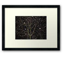 Falling Snow - Night Scene Framed Print