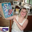 Angel bag painted (Harp) for Brittany by Penny Hetherington