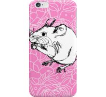 Mouse on Floral Background-Pink iPhone Case/Skin