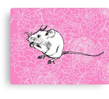 Mouse on Floral Background-Pink Canvas Print