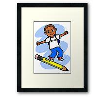 Boy Surfing on Pencil Framed Print
