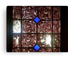 Stained glass in historical building Canvas Print