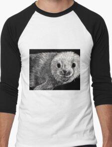 black and white seal on scratchboard Men's Baseball ¾ T-Shirt