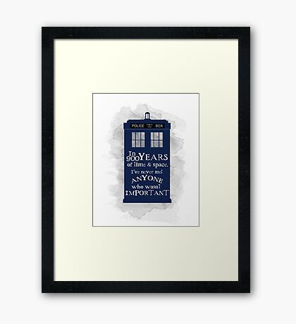 Dr Who - 900 years of time and space quote Framed Print
