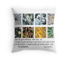 Tuinpraatjies – Karootuin se waterwyses Throw Pillow