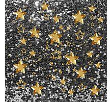 Gold Shiny Stars Silver Faux Glitter Photographic Print
