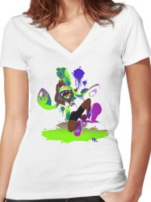 Splatoon Inkling (Green) Women's Fitted V-Neck T-Shirt