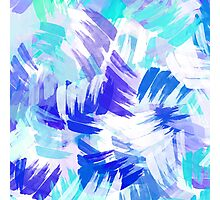 Blue Abstract Paint Pattern Photographic Print