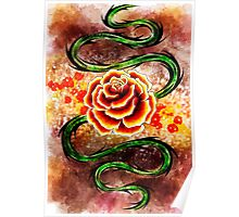 Watercolor Rose Whip Poster